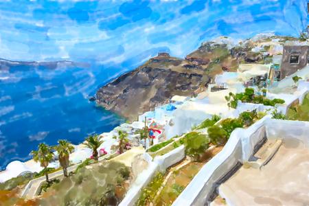Watercolor illustration of Greek Island Santorini town Fira and the caldera sea scape.