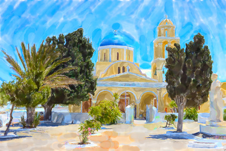 Watercolor illustration of Greek Island Santorini town names Ia. Yellow Saint George Church.