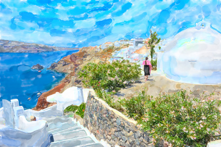 Watercolor illustration of Greek Island Santorini town names Ia. People walking through the town with its small stores and bars.