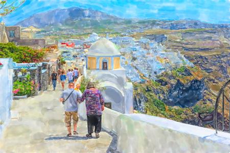 Watercolor illustration of Greek Island Santorini town Fira. People walking through the cityscape.