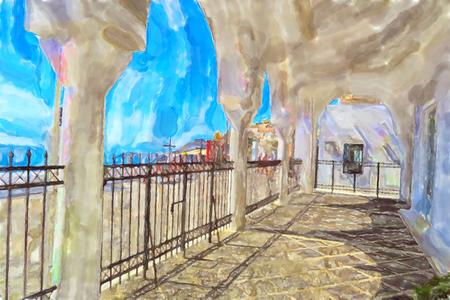 Watercolor illustration of Greek Island Santorini town Fira. Fence of Orthodox Metropolitan Cathedral.