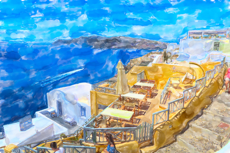 Watercolor illustration of Greek Island Santorini town names Ia. View over caldera and traditional houses. Stock Photo