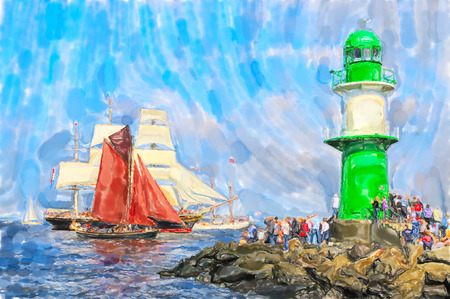 Warnemunde Lighthouse at pier on Baltic Sea. Sailing ships are passing by. Watercolor illustration.