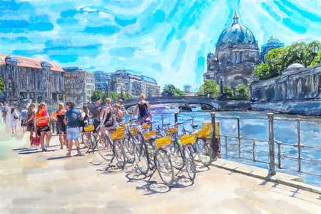 Watercolor illustration of  Berlin. People with bikes resting at Spree river. berlin cathedral in background.
