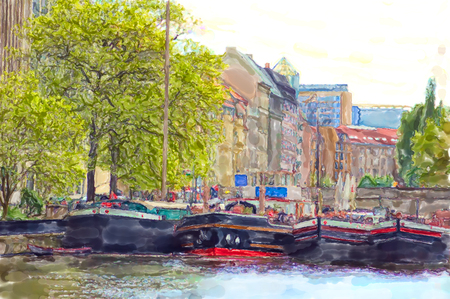 Watercolor illustration of Berlin historical harbor with old barges