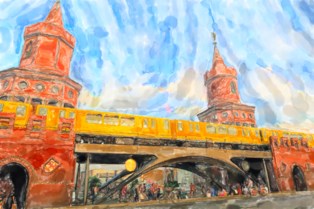 Watercolor illustration of Berlin with its red brick Oberbaum bridge and subway passing by. People walking under the bridge.