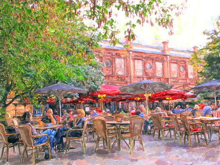 Watercolor illustration of Berlin subway station names Heckescher Markt place with outdoor restaurant. People sitting on tables in summer time.