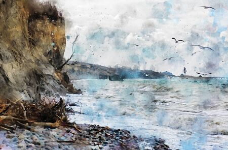 Digital illustration of baltic cliff at village Ahrenshop at Darss peninsula germany. Stormy weather. Seagulls in sky. Water color