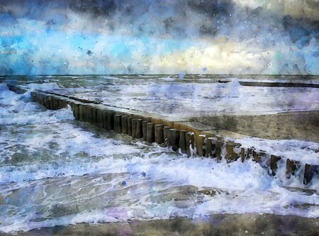 Digital illustration of baltic sea coast with storm clouds and waves. Beach landscape.