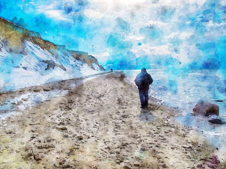 Digital illustration person walking during winter at baltic sea coast landscape cliff at Wustrow and Ahrenshoop at Darss peninsula in Germany.