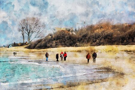 Digital illustration of beach landscape at Darss peninsula in Mecklenburg-Vorpommern Germany. People walking along the beach. Water color.