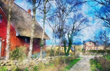 Digital illustration of Cityscape of baltic sea village Ahrenshoop with typical reed roof houses. Water color paint.