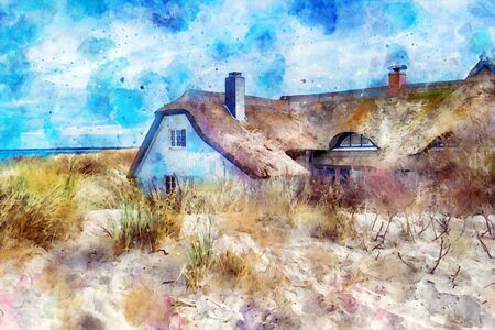 Digittal illustration of traditional reed roof house at baltic sea shore in sand dunes. Ahrenshoop village in Germany.