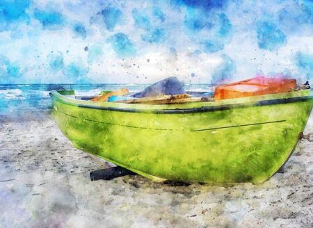 Digital illustration of green fishing boat at baltic sea shore at Darss peninsula in Germany. 스톡 콘텐츠
