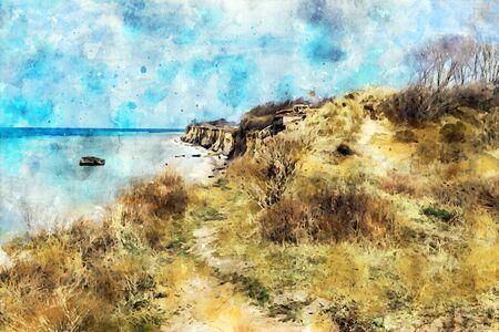 Digital illustration of baltic sea coast landscape cliff at Wustrow and Ahrenshoop at Darss peninsula in Germany. Watercolor.