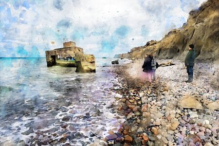 Digital illustration of baltic sea coast landscape with bunker in water. People on beach. Wustrow and Ahrenshoop at Darss peninsula in Germany. Watercolor.