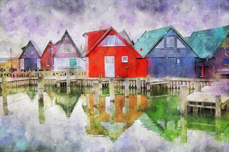 Digital illustration of baltic sea boats houses at village Ahrenshop at Darss peninsula germany.