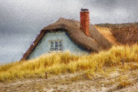 reed roof house at darss peninsula. oil painting.