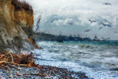 Storm weather at baltic sea coast at darss peninsula in germany. oil illustration. seagull on cliff