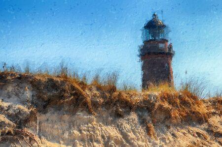oil painting of darsser ort lighthouse on baltic sea coast. darss peninsula.
