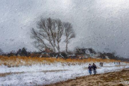 winter with snow at baltic sea coast at darss peninsula near ahrenshoop village. people walking along the beach. 스톡 콘텐츠