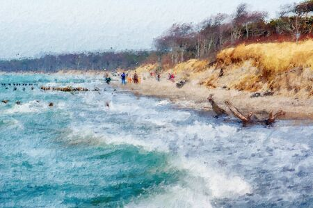 Storm weather at baltic sea coast at darss peninsula in germany. oil illustration.