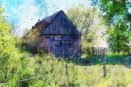 Watercolor painting of old barn at Havelland region in Germany. Springtime. fresh green on bush and tree.