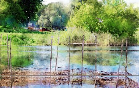 Watercolor painting of traditional fishing net in river with Common tern gull sitting on top. 스톡 콘텐츠