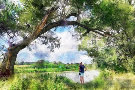 Watercolor painting of Havel river landscape. Woman watching the water in river while standing under an old willow tree.