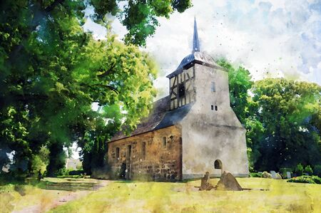 Watercolor painting of half timbered church in village Stechow in Havelland Brandenburg region Germany.