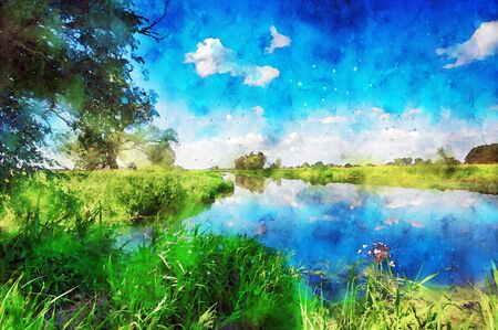 Watercolor painting of havel river landscape in summer time. willow tree on shore and clouds in sky.