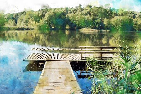 Watercolor painting of piere in the water of a lake in Brandenburg Germany. forest in background. 스톡 콘텐츠