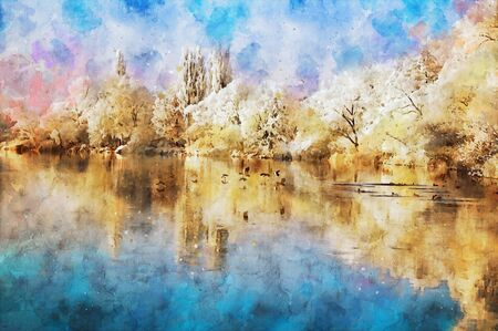 Watercolor painting of havel river winter landscape. snowy. birds on the water. Havelland.