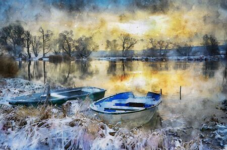 Watercolor painting of fisher boats on havel river winter landscape. snowy. sunset
