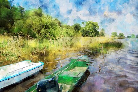 Watercolor painting of fisher boats at hohennauener lake in havelland region germany. reed and waves. summer time.