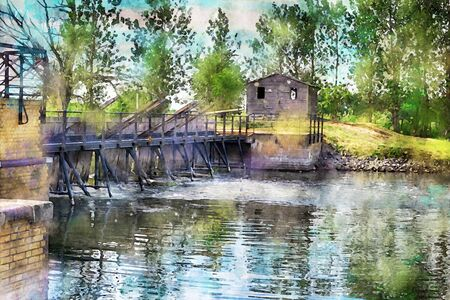 Watercolor painting of historical needle weir at Havel river in Havelland region Germany.