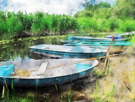 Watercolor painting of group of fishing boats at Witzker lake in Brandenburg havelland region in Germany.