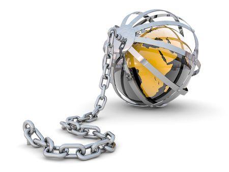 criterio: Il mondo aderito a una catena di dollari e il prigioniero in una gabbia