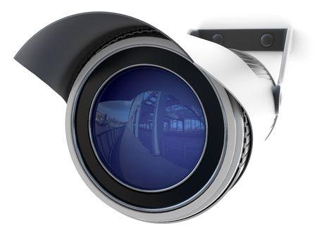 seguridad industrial: c�maras de seguridad digitales de televisi�n sobre un fondo blanco