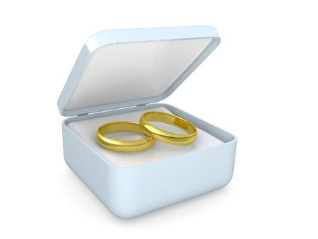 gold wedding rings isolated on a white background photo