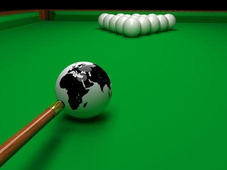 Pool game balls on a green felt table photo