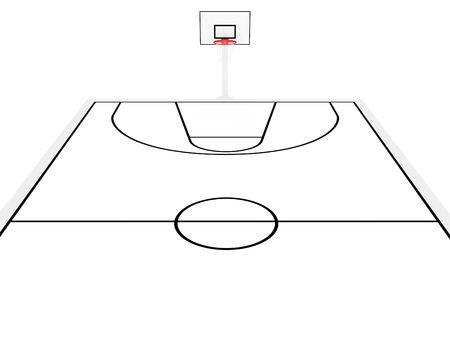3D esquema de una cancha de baloncesto Foto de archivo - 5465493