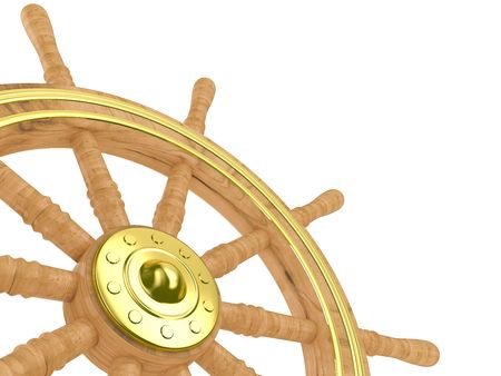 Isolated illustration of a traditional ships wheel on a white background Stock Photo