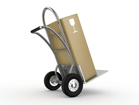 conveyance: Hand truck with the box isolated on white background Stock Photo