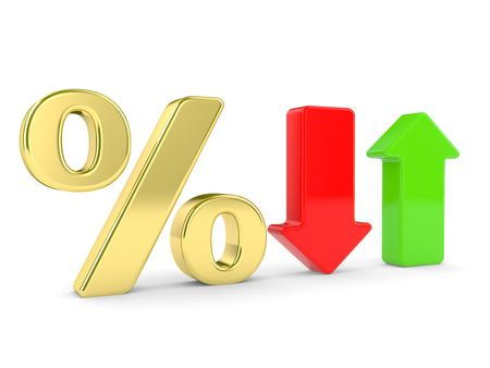 predict: A 3d Rendered Illustration showing a Rise and  Fall in Interest with symbol percent Stock Photo