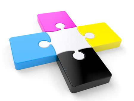 The puzzle elements over a white background Stock Photo - 5565083