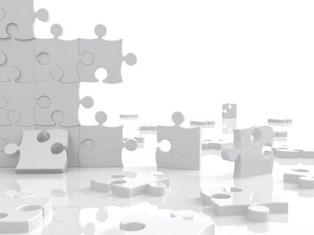 puzzel in stukken op een witte achtergrond