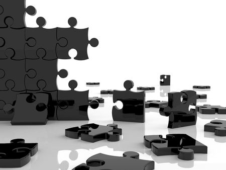 Puzzle en morceaux sur un fond blanc  Banque d'images - 5565046