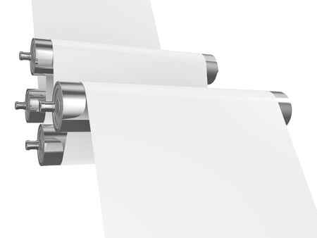 polygraphy: Two steel rollers with a paper between them