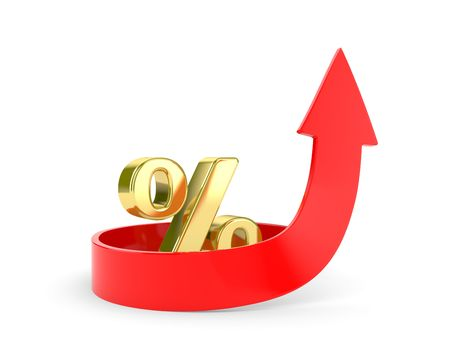 gaining: A 3d Rendered Illustration showing a Rise in Interest with symbol percent